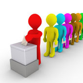 Many people in line take turn to vote — Stock Photo