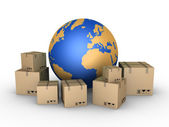 Shipment of parcels all over the world — Stock Photo