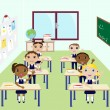 Stock Vector: Kids in classroom