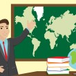 Stock Vector: Geography teacher