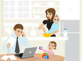 Busy family — Stock Vector