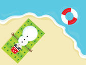 Snowman enjoying on the beach — Stock Vector