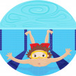 Boy diving in a swimming pool — Stock Vector
