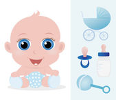 Adorable baby boy and baby accessories set — Stock Vector