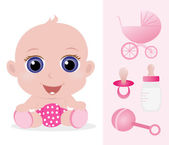 Adorable baby girl and baby accessories set — Stock Vector