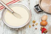 Ingredients for making pancake batter — Stock Photo