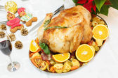 Holiday roasted turkey — Stock Photo