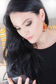 Beautiful stylish fashion woman using digital tablet — Stock Photo
