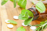 Alternative medicine with herbal and homeopathic pills — Stock Photo