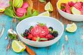 Beeren-Joghurt-Eis, garniert mit frischen Beeren und macarons. — Stockfoto
