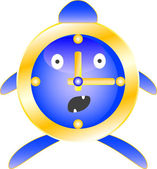 Alarm clock blue with surprise on his face. — Stock Vector