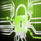 安全网络系统的屏幕 — 图库照片