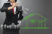 Home with green environment concept — Stock Photo