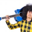Young man with long hair and blue guitar — Foto de Stock
