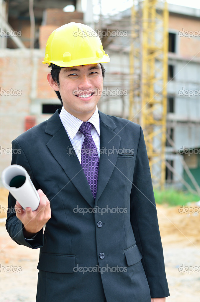 Close up of engineer is working on a construction area  Stock Photo #14985291