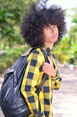 Asian student with backpack at a campus — Stock Photo