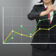 Business woman drawing growing green graph — Stock Photo