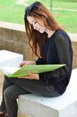 Asian women student looking profile — Stock Photo