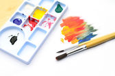 Watercolor with brush — Stock Photo