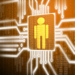 LCD circuit human on green screen background screen background — Stock Photo