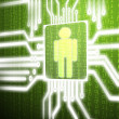 LCD circuit human on green screen background — Stock Photo