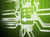 Lcd screen matrix circuit of calculator symbol — Stock Photo