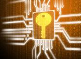Lcd screen matrix circuit of key symbol — Stock Photo