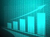 Blue growing graph matrix — Stock Photo