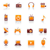 Media and telecom vector icon set — Stock Vector