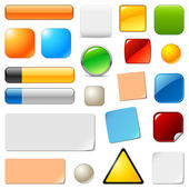Blank web buttons and stickers. Vector templates set — ストックベクタ