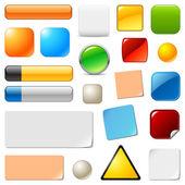 Botones web en blanco y pegatinas. conjunto de plantillas de vector — Vector de stock