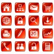 Royalty-Free Stock Vector Image: Web icons, buttons. Red series 1