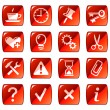 Web icons, buttons. Red series 2 — Stock Vector
