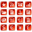 Web icons, buttons. Red series 3 - Stock Vector