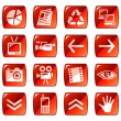 Stock Vector: Web icons, buttons. Red series 4