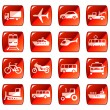 Transportation icons, buttons. Red series — Stock Vector