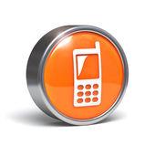 Cellphone icon - 3D button — Stock Photo