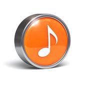 Música nota botón símbolo - 3d — Foto de Stock