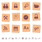Web icons on memo notes 3 — Stock Vector