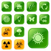 Ecological icons, buttons — Stock Vector