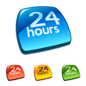 24 hrs icon on web button — Stock Vector