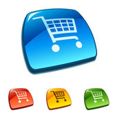 Shopping cart icon on web button — Stock Vector