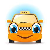 Smiling cartoon taxi — Stock Vector