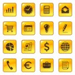 Business icons on web yellow buttons — Stock Vector