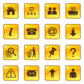 Web icons on yellow glossy buttons — Stock Vector