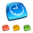 Clock icon on web button — Stock vektor