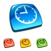Clock icon on web button — Stock Vector