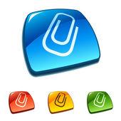 Clip icon on web button — Stock Vector