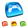 Gamepad icon on web button — Stock Vector #14007265