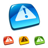 Warning icon on web button — Stock Vector